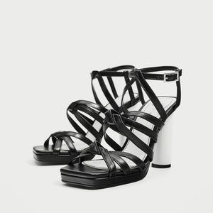 New Zara Black Leather Sandals with White Heel